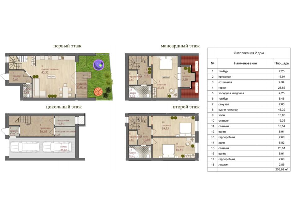 Планування котеджу в КМ Міський Будинок 2 206.92 м², фото 76531