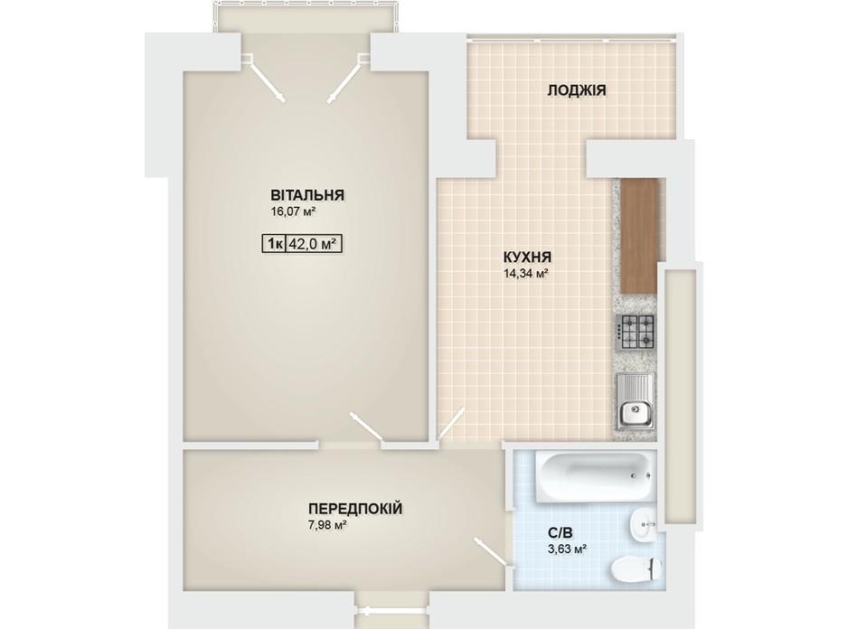 Планування 1-кімнатної квартири в ЖК Містечко Мануфактура 42 м², фото 78648
