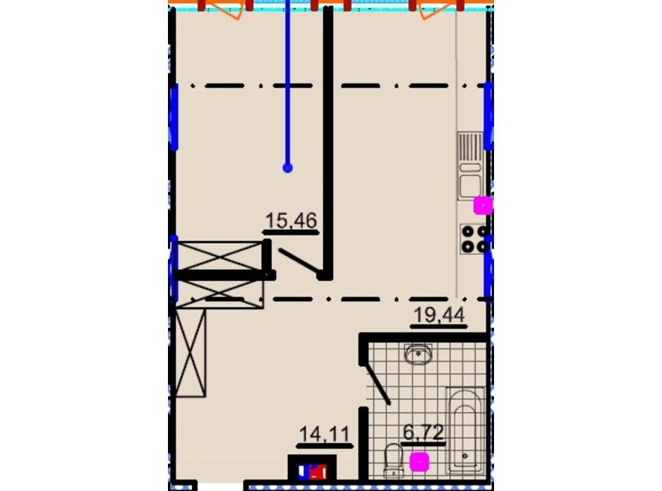 Планировка 1-комнатной квартиры в ЖК Небо 57.09 м², фото 81835