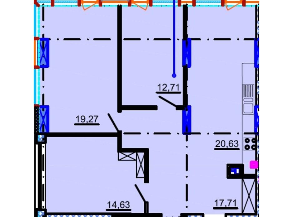 Планировка 3-комнатной квартиры в ЖК Небо 94.16 м², фото 81837