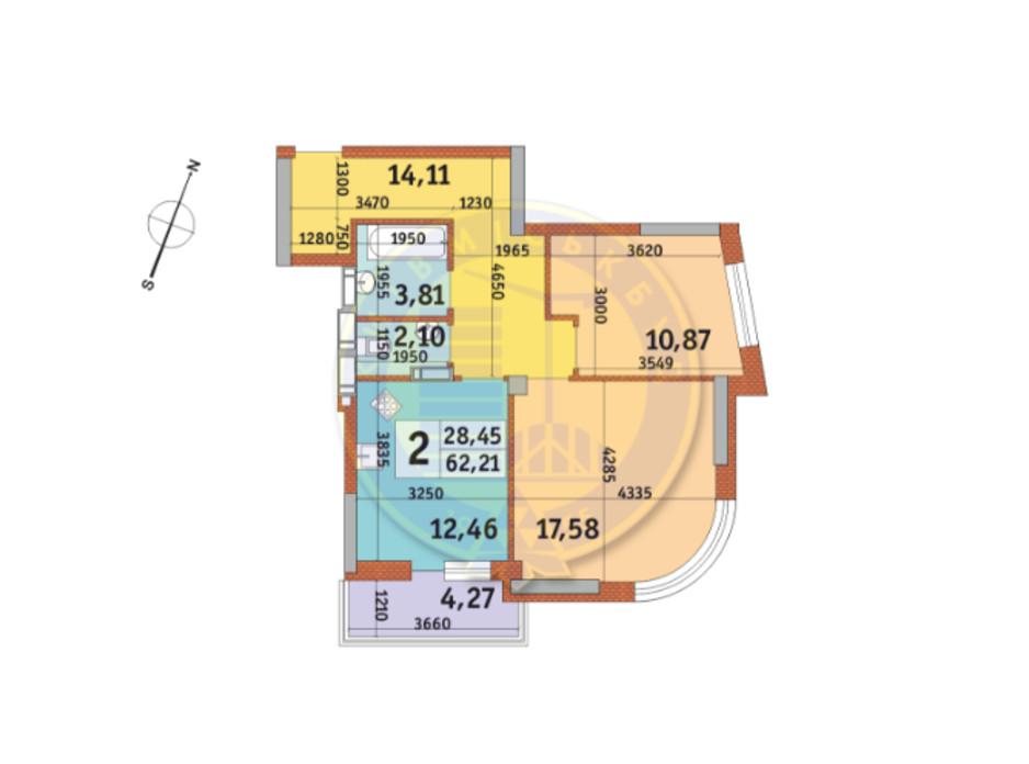 Планировка 2-комнатной квартиры в ЖК Урловский-2 62.21 м², фото 82479