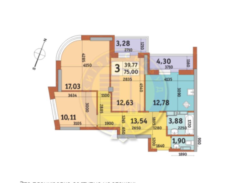 Планировка 3-комнатной квартиры в ЖК Урловский-2 75 м², фото 82480