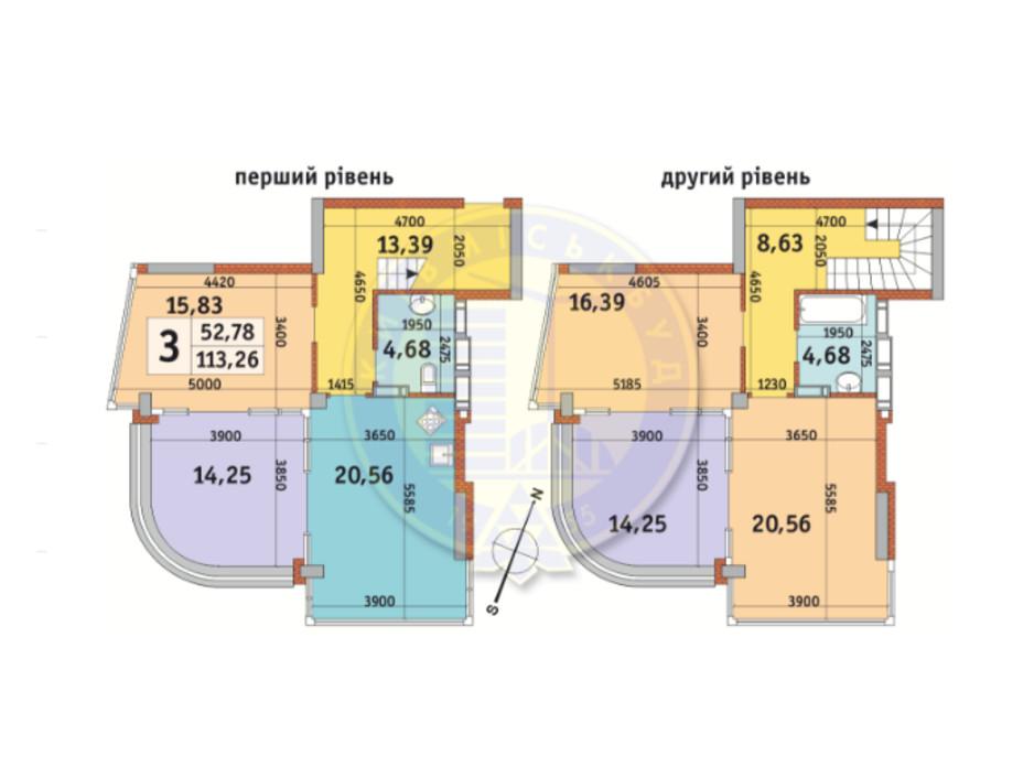 Планировка многоуровневой квартиры в ЖК Урловский-2 113.26 м², фото 82484