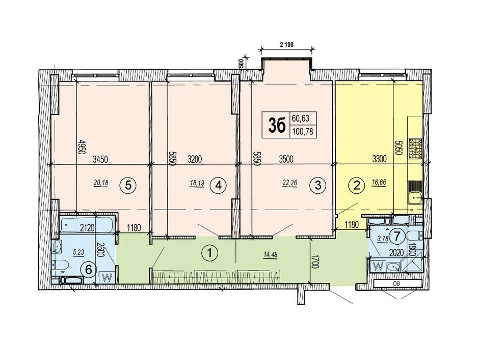 Планировка 3-комнатной квартиры в ЖК Podol Plaza & Residence 100.78 м², фото 84416
