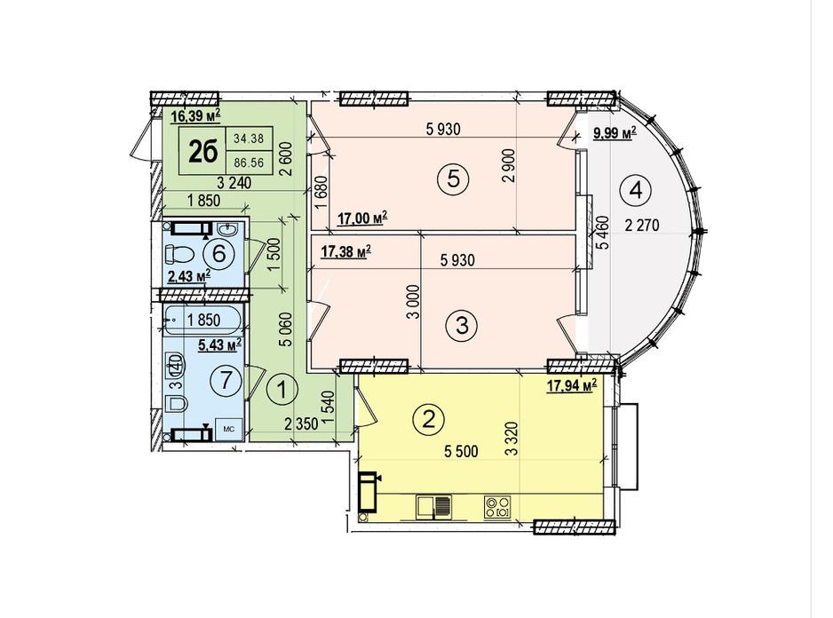 Планировка 2-комнатной квартиры в ЖК Podol Plaza & Residence 86.56 м², фото 84430