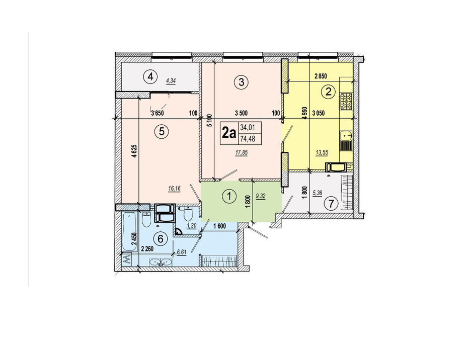 Планировка 2-комнатной квартиры в ЖК Podol Plaza & Residence 74.48 м², фото 84446