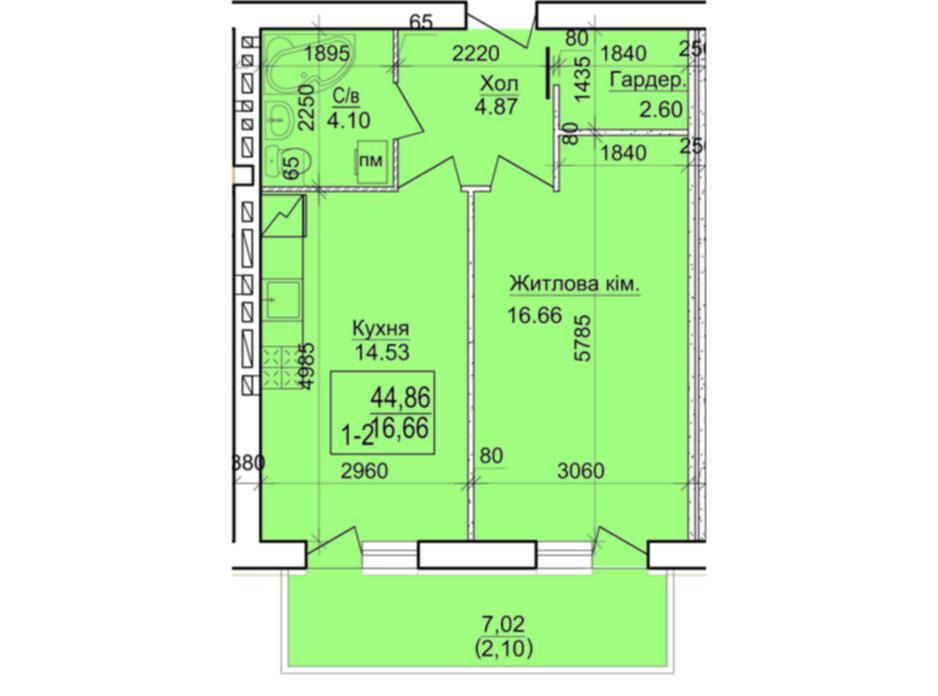 Планировка 1-комнатной квартиры в ЖК Дом 20 44.86 м², фото 87230