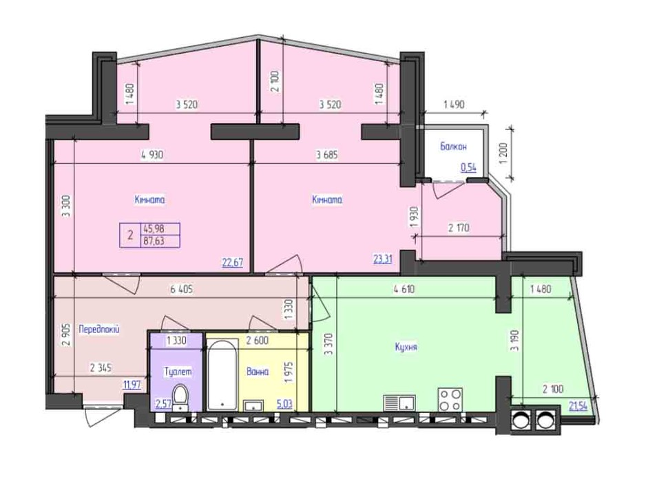 Планировка 2-комнатной квартиры в ЖК Атлант 86.7 м², фото 89295