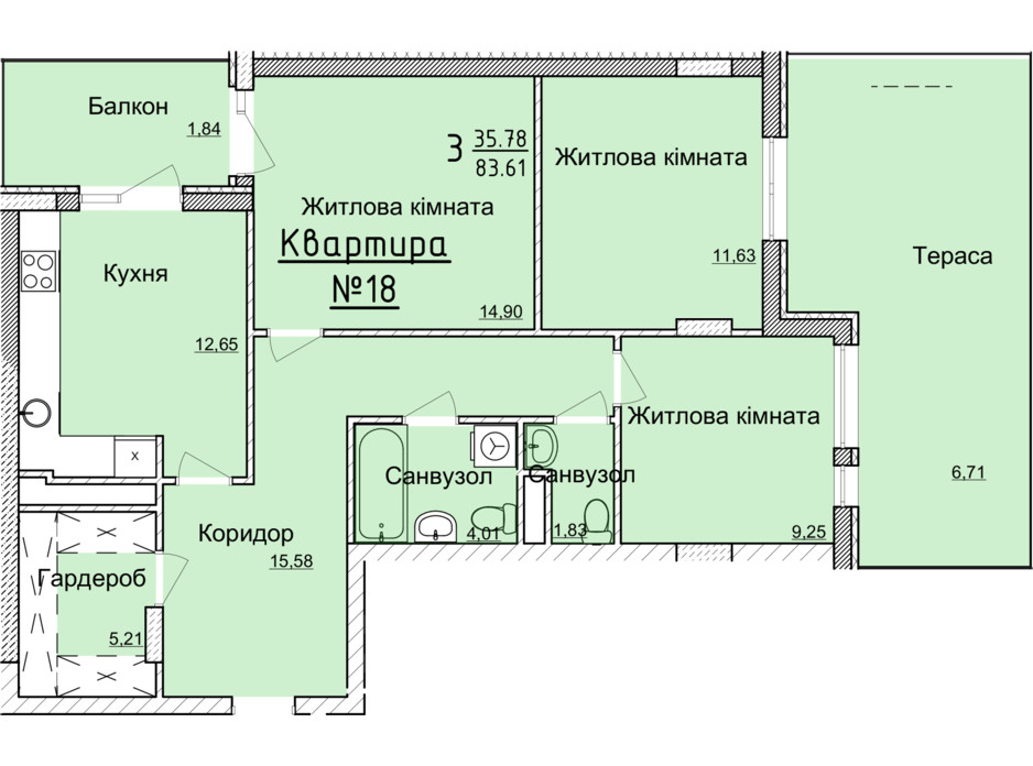 Планировка 3-комнатной квартиры в ЖК Globus Elite 80.1 м², фото 89351