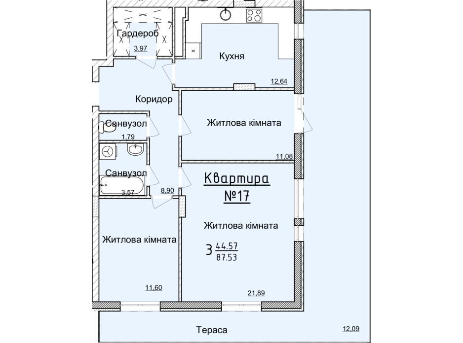 Планировка 3-комнатной квартиры в ЖК Globus Elite 84 м², фото 89353