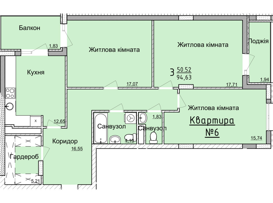 Планування 3-кімнатної квартири в ЖК Globus Elite 91.2 м², фото 89354