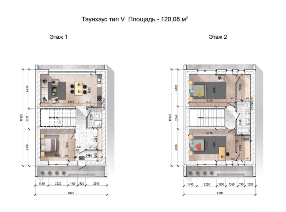 Планування багаторівневої квартири в Таунхаус Comfort City Lagoon 120.08 м², фото 90913