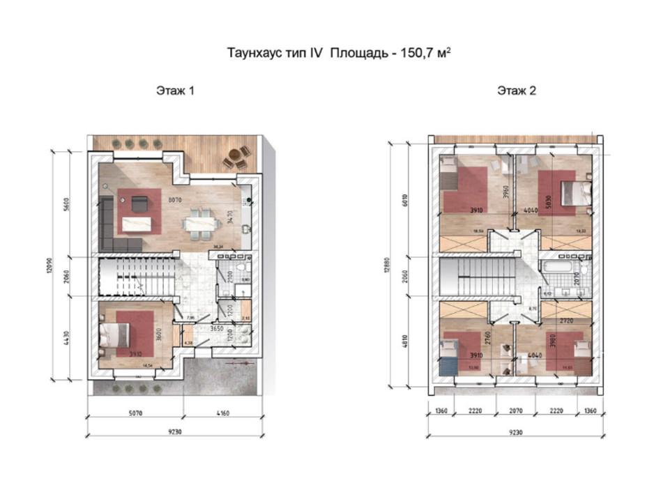Планировка многоуровневой квартиры в Таунхаус Comfort City Lagoon 150.7 м², фото 90914