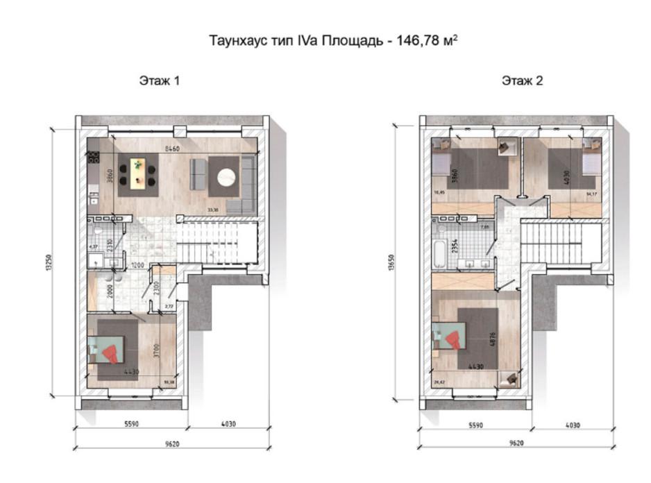Планировка многоуровневой квартиры в Таунхаус Comfort City Lagoon 146.78 м², фото 90915