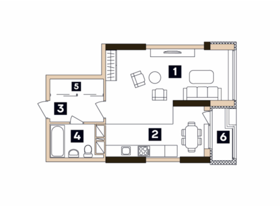 Планировка 1-комнатной квартиры в ЖК Central 40.43 м², фото 91360