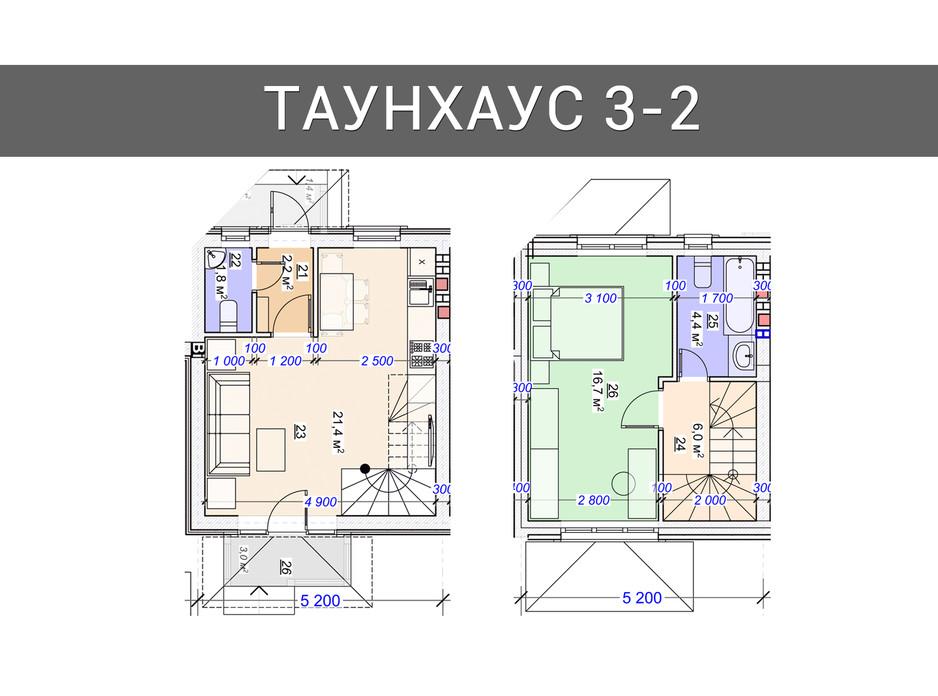 Планировка 3-комнатной квартиры в Таунхаус Плюс 94 м², фото 92494
