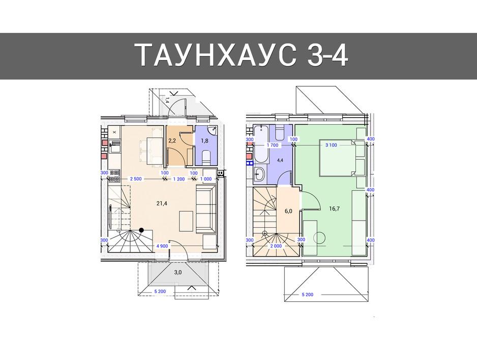 Планировка 2-комнатной квартиры в Таунхаус Плюс 80 м², фото 92495