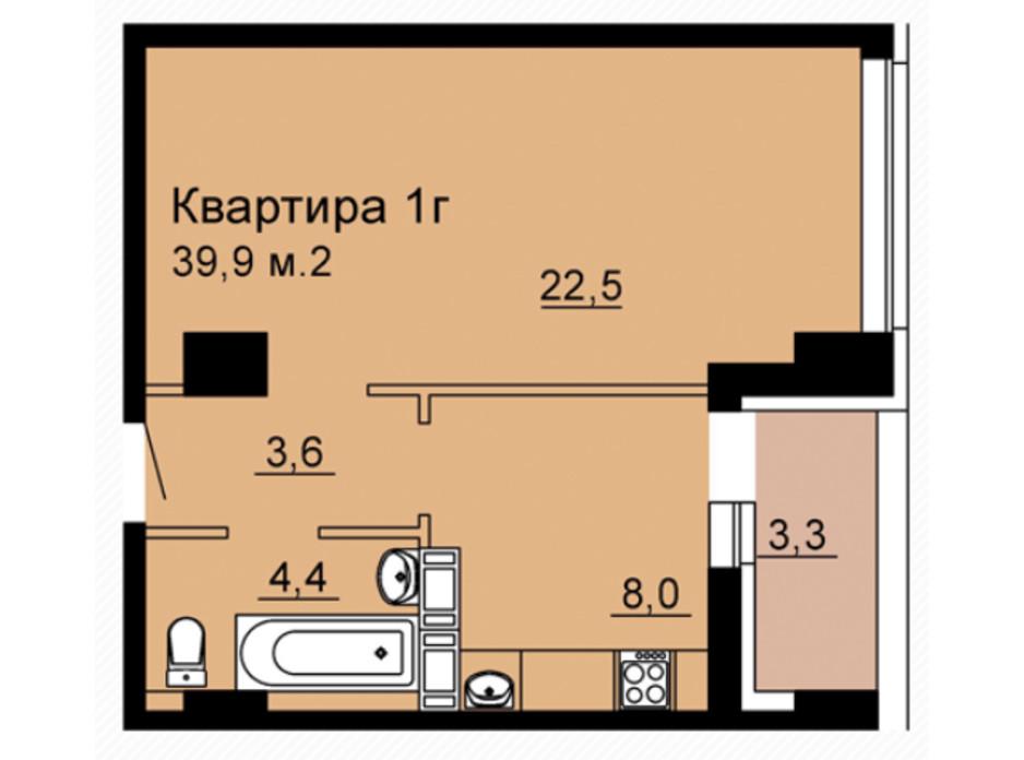 Планування 1-кімнатної квартири в ЖК SkyCity 39.9 м², фото 92581