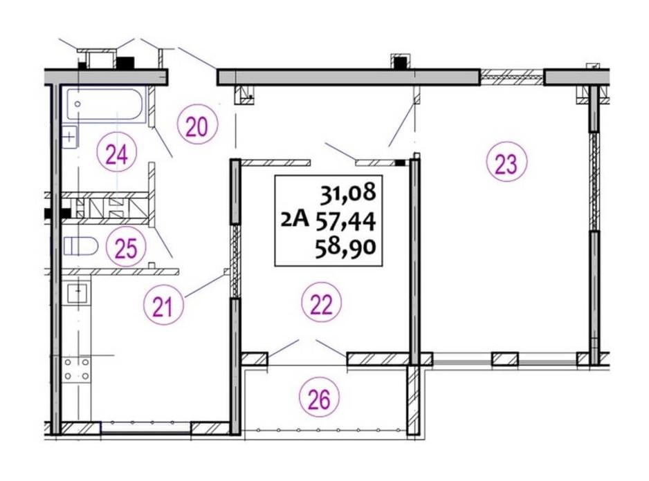 Планировка 2-комнатной квартиры в ЖК Варшавский 58.9 м², фото 92698