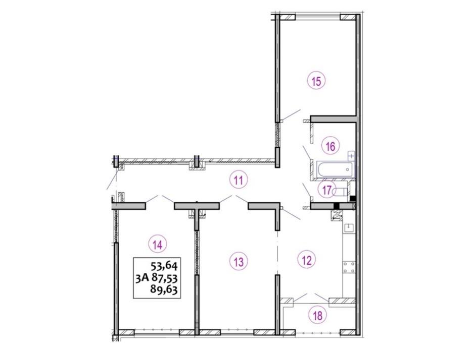 Планировка 3-комнатной квартиры в ЖК Варшавский 89.83 м², фото 92699