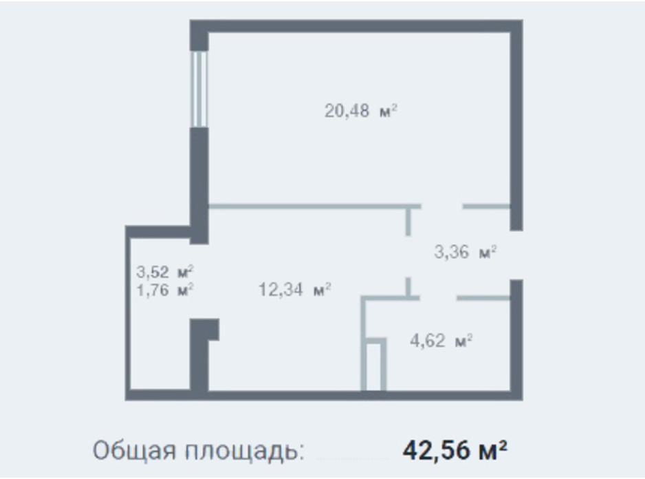 Планування 1-кімнатної квартири в ЖК Новосел 42.56 м², фото 95297