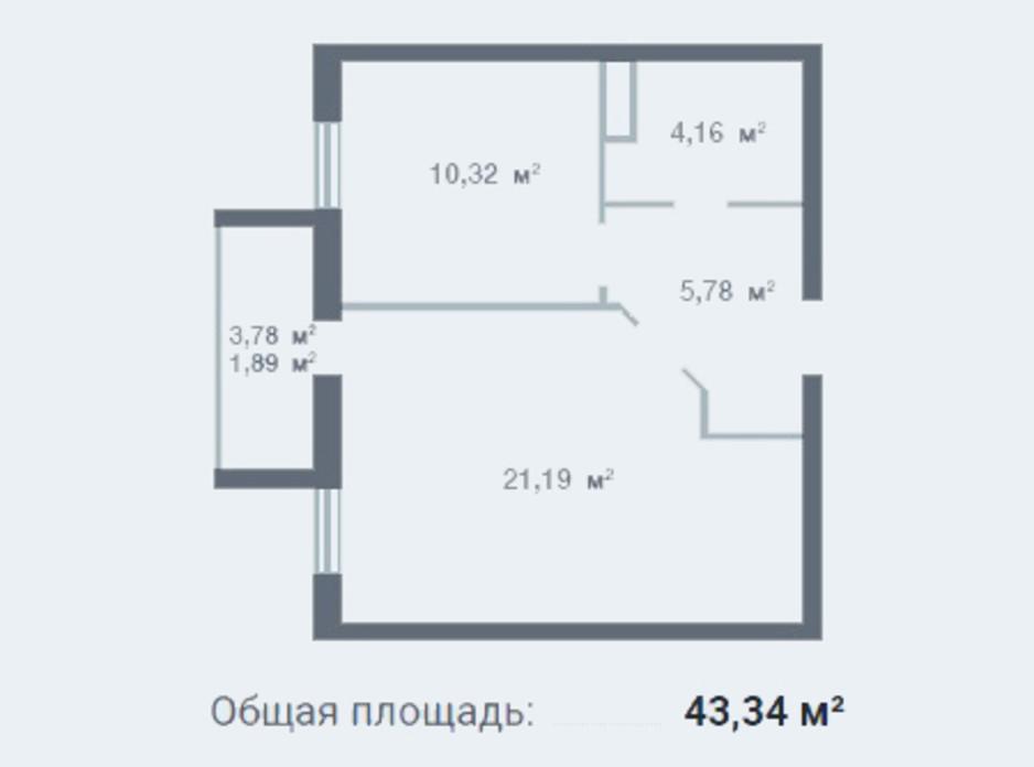Планування 1-кімнатної квартири в ЖК Новосел 42.34 м², фото 95298