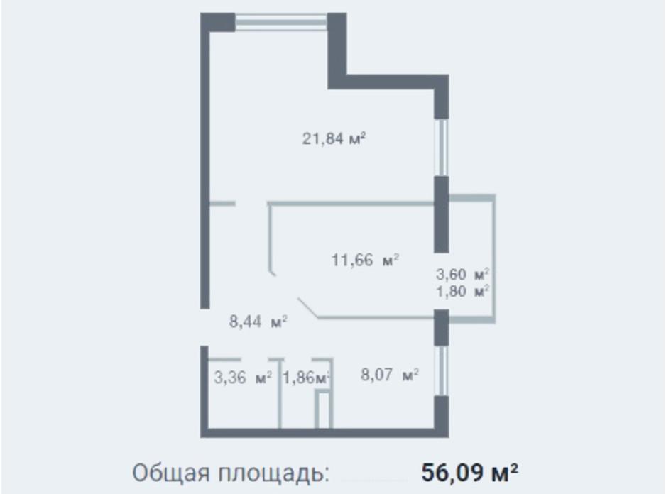 Планування 2-кімнатної квартири в ЖК Новосел 56.09 м², фото 95300