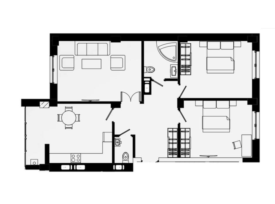 Планування 3-кімнатної квартири в ЖК Comfort Park 90 м², фото 99182