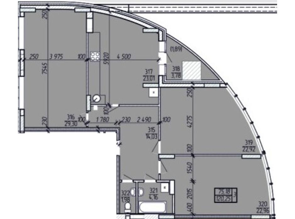 Планировка 3-комнатной квартиры в ЖК Покровский 120.25 м², фото 99486