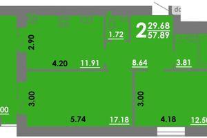 Продається 2-кімнатна квартира 57.89 кв. м у Миколаєві