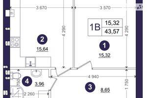 Продається 1-кімнатна квартира 43.57 кв. м у Києво-Святошинську