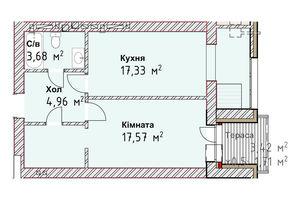 Продается 1-комнатная квартира 45.25 кв. м в Одессе