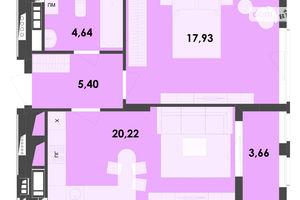 Продается 1-комнатная квартира 51.85 кв. м в Житомире