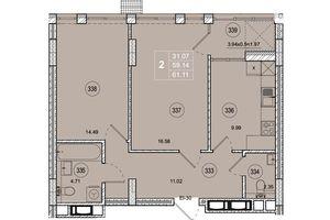 Продается 2-комнатная квартира 61.1 кв. м в Житомире