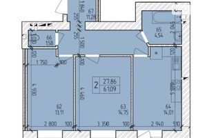 Продається 2-кімнатна квартира 62.85 кв. м у Хмельницькому