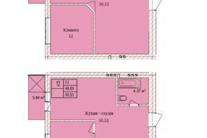 Продається 2-кімнатна квартира 48.76 кв. м у Тернополі