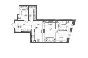 Продается 1-комнатная квартира 50.61 кв. м в Киеве