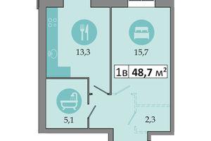 Продається 1-кімнатна квартира 48.7 кв. м у Дніпрі