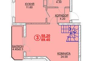 Продается 3-комнатная квартира 89.45 кв. м в Вышгороде