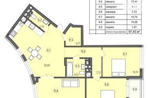 Продается 3-комнатная квартира 97.45 кв. м в Тернополе
