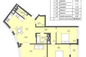 Продается 3-комнатная квартира 99.96 кв. м в Тернополе