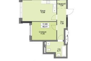 Продается 1-комнатная квартира 46.41 кв. м в Вышгороде