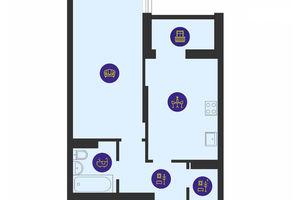 Продается 1-комнатная квартира 47.11 кв. м в Киеве
