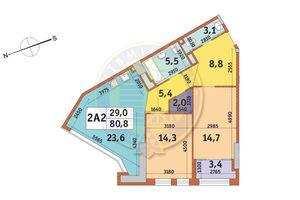 Продается 2-комнатная квартира 80.8 кв. м в Киеве