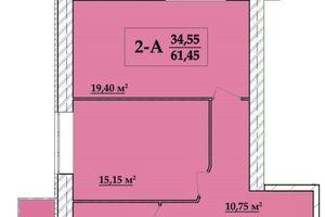 Продается 2-комнатная квартира 61.45 кв. м в Хмельницком