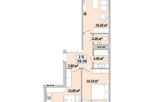 Продается 2-комнатная квартира 59.5 кв. м в Ивано-Франковске