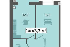 Продается 1-комнатная квартира 43.3 кв. м в Днепре