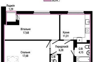 Продается 2-комнатная квартира 56.34 кв. м в Ирпене