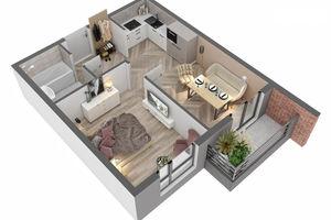 Продается 1-комнатная квартира 40.72 кв. м в Ужгороде
