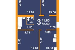 Продается 3-комнатная квартира 72.4 кв. м в Запорожье